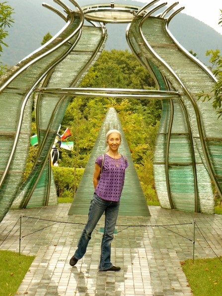 Marika in front of this stunning glass structure in Hakone